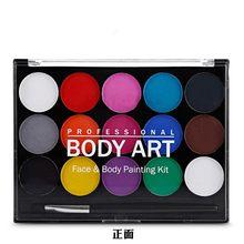 15 cores pintura facial corpo maquiagem não tóxico seguro água pintura a óleo com escova de natal ferramentas festa de halloween