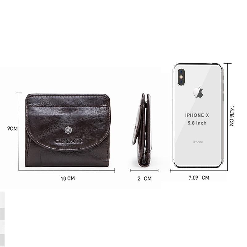 Купить с кэшбэком Contact's Genuine Leather Wallets Women Money Clips RFID Card Wallet Femal Purse Money Clip Small Coin Wallets Hasp Portomonee