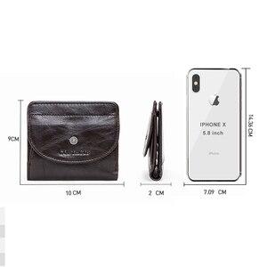 Image 5 - קשר של עור אמיתי ארנקים נשים קליפים כסף RFID כרטיס ארנק Femal ארנק קליפ כסף קטן מטבע ארנקי וו Portomonee