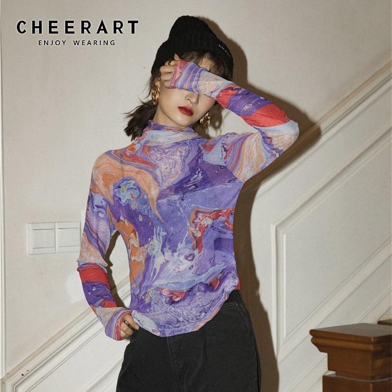 CHEERART Fluid Print Turtle Neck Mesh Top Women Long Sleeve T Shirt Purple Tee Shirt Femme 2020 Spring New Arrival 1