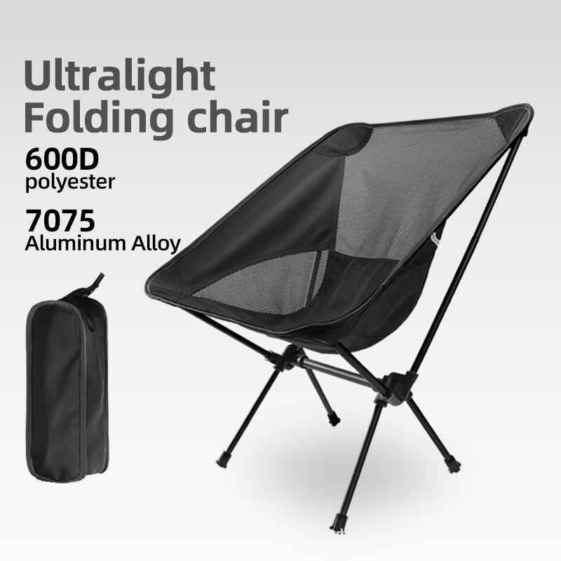 Ultraleve ao ar livre dobrável cadeira de acampamento piquenique caminhadas dobrável lazer viagem praia mochila lua cadeira portátil cadeira de pesca