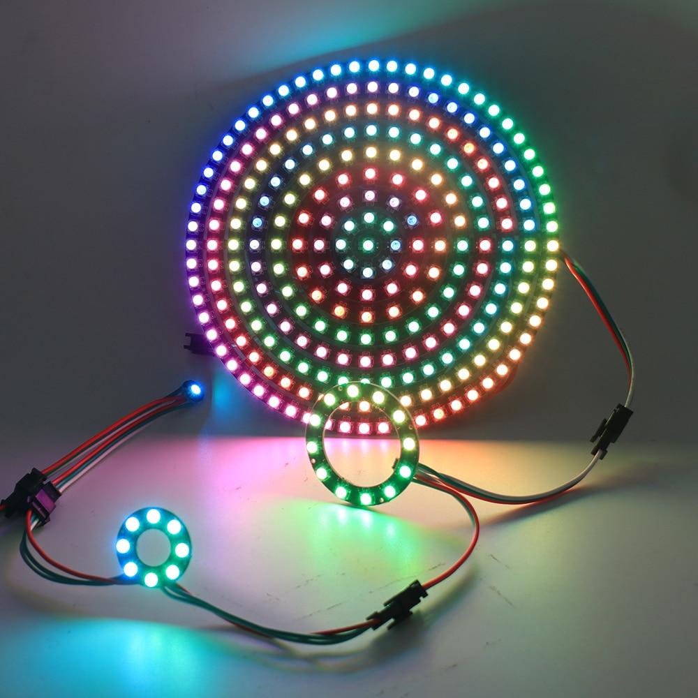 Addressable Pixel WS2812B RGB LED Rings WS2812 SK6812 5050 RGB LED Strip Ring DC5V WS2811 IC Built-in Addressable Strip 1-241LED