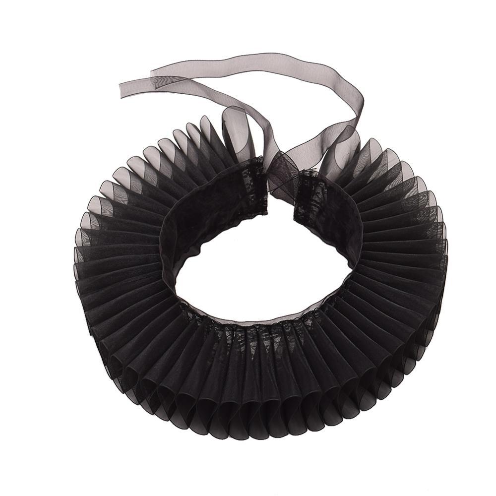 Medieval Victorian Neck Collar Jabot Gauze Gothic Steampunk Cravat Black