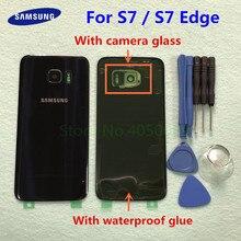 Funda trasera para SAMSUNG Galaxy S7 G930 SM G930F S7 Edge G935 SM G935F, carcasa trasera de cristal + herramientas