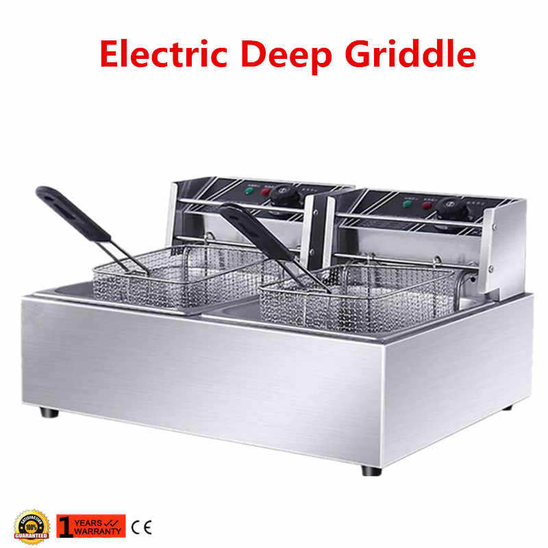 110V/220V Electric Deep Fryer Multifunction Frying Machine Smokeless Fried Fish Fat Fryer Grill Fried Chicken Dough Sticks
