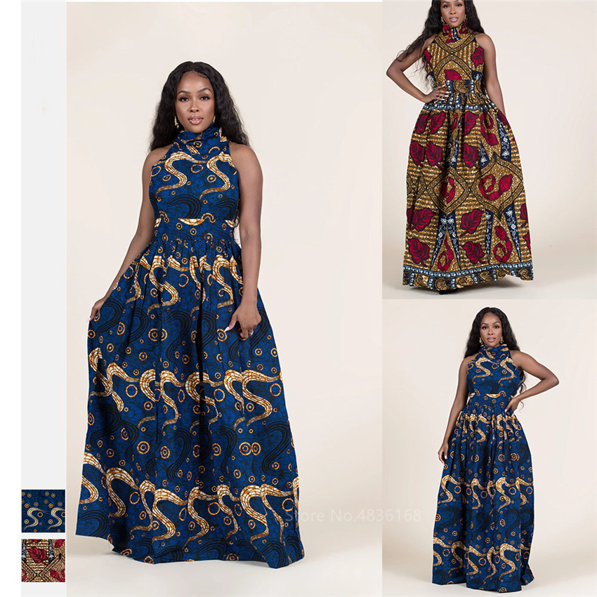 Fashion 2020 Sleeveless African Dresses For Women Sexy Dashiki Print Long Robe Halter Ladies Ankara Africaine Plus Size Clothing