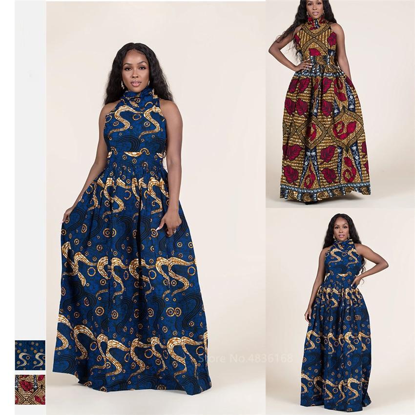 Fashion 2020 Sleeveless African Dresses For Women Sexy Dashiki Print Long Robe Halter Ladies Ankara Africaine Plus Size Clothing