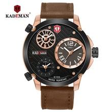 KADEMAN Mens'Watches 30M Waterproof Sports Wristwatch TOP Quality Brand Watch Casual Leather Luxury Male Clock Relogio Masculino
