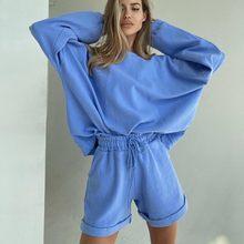 Woyucl primavera e verão feminino de manga comprida em torno do pescoço topo solto feminino casual shorts cor sólida camisola de duas peças