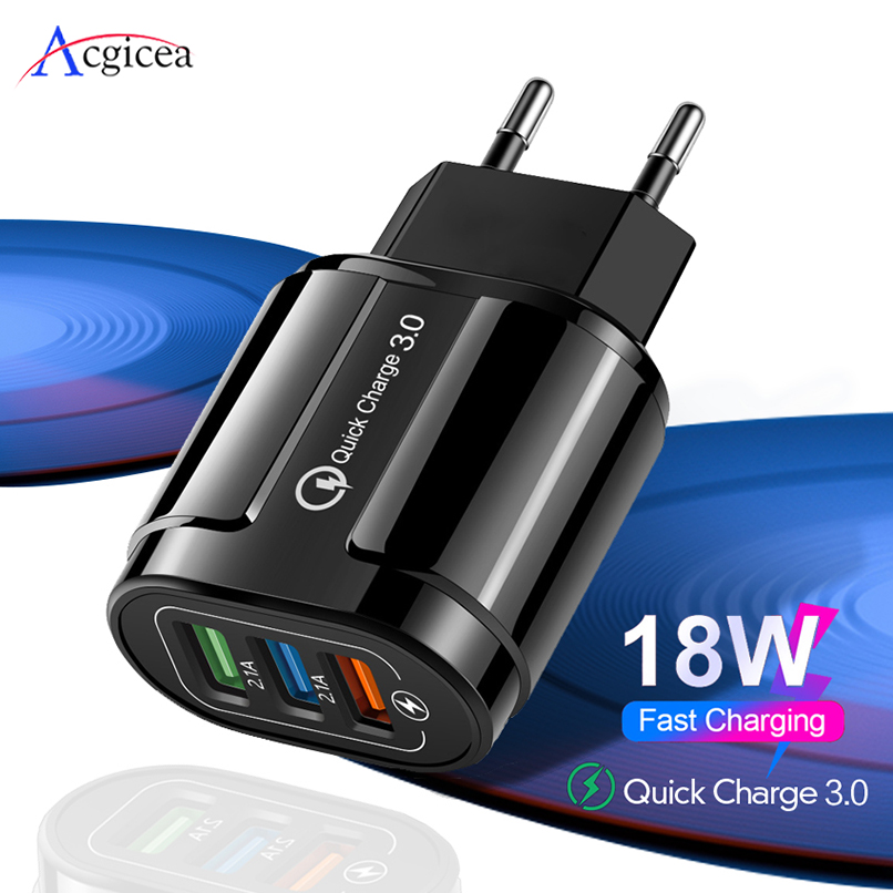 Quick Charge 3.0 USB Charger Mobile Phone Charger Adapter for iPhone 11 Pro EU/US Plug QC3.0 Fast Charging for Samsung S9 Xiaomi(China)