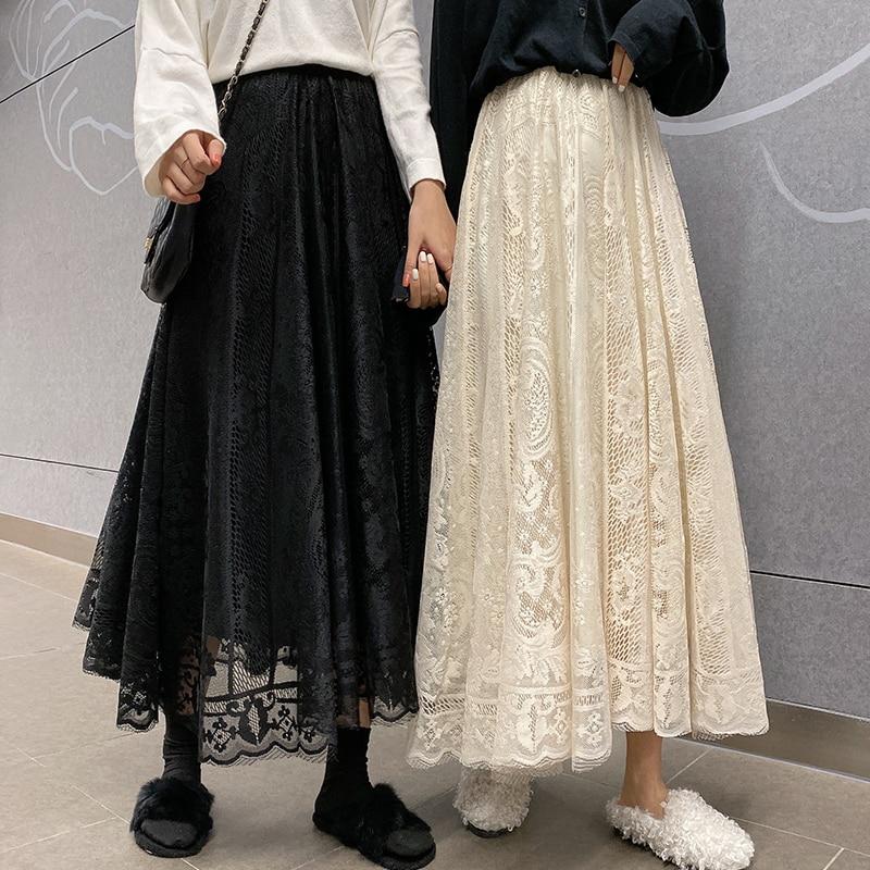 Elastic High Waist Lace Skirts Women Spring Summer Skirt 2020 Korean Elegant Casual A-line Black Apricot Long Maxi Skirts X091