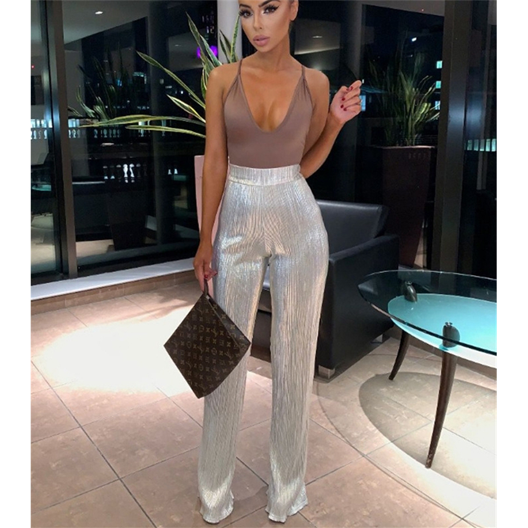 Sexy Women Shining Pant 2019 Fashion Night Club Long Wide Leg Bling Trousers Casual Ladies Bottoms High Waist Sequin Trousers