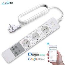 Power Strip Intelligente Wifi Plug 3 Uitgangen Onafhankelijke Schakelaar Voice Afstandsbediening Overspanningsbeveiliging Werken Met Alexa Google Thuis