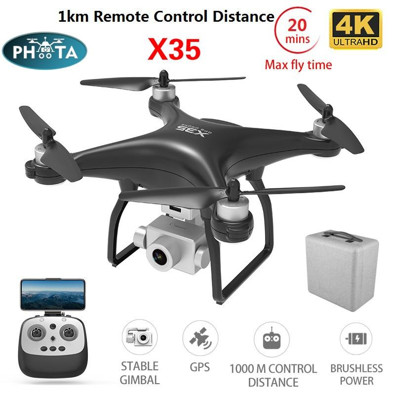 X35  Gps Drone 4K  HD Camera 5G Wifi FPV Profissional Rc Quadcopter Borstelloze Motor Drones Gimbal Stabilizer 20mins 1km drone