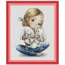 Девушка обниматься с мультипликационным принтом «кролик» узоры