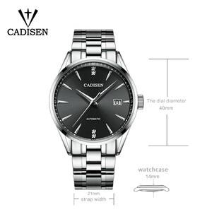 Image 3 - Часы наручные CADISEN Мужские механические, брендовые роскошные стальные автоматические деловые водонепроницаемые