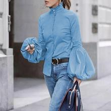 2019 New Autumn Winter Fashion Women Tops Casual Lantern Sleeve High Collar Solid Tight