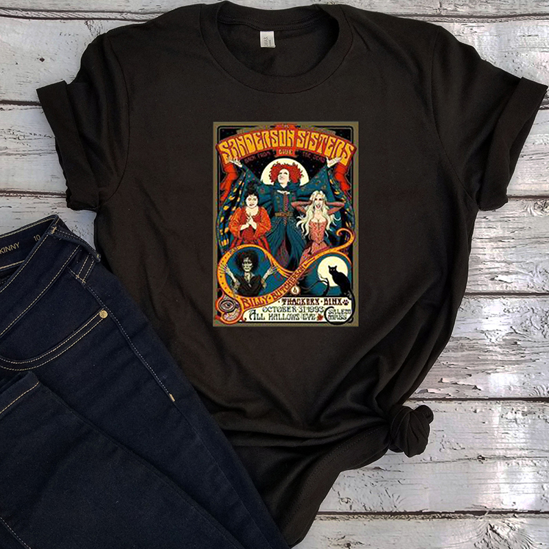 hocus pocus tshirt horror movie halloween shirt girl holiday print top 2019 womens tee casual graphic tees vintage plus size