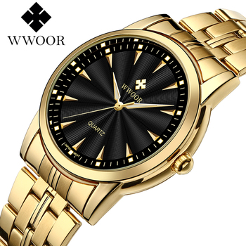 WWOOR Top Brand Luxury Gold Watches For Men Stainless Steel Casual Business Quartz Mens Wrist Watch Waterproof Relogio Masculino relogio masculino wwoor luxury mens analog quartz business gold wrist watch men full steel waterproof sports watches male clocks