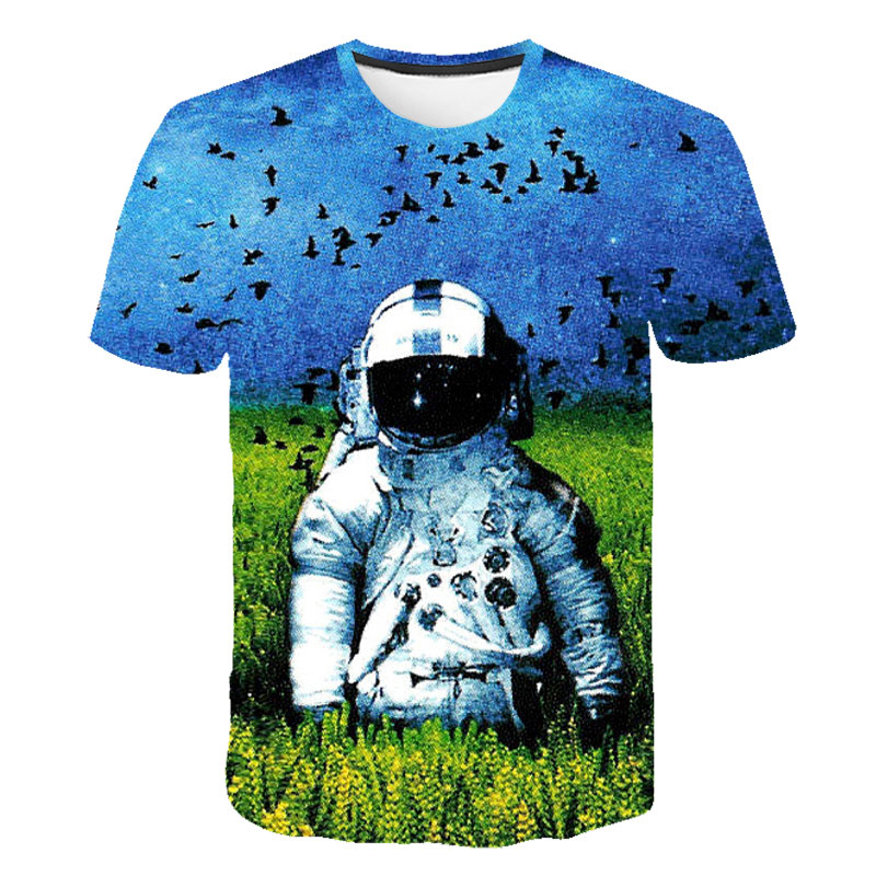 Cute and Funny Astronauts Summer T-Shirt Childrens Fashion Simple and Comfortable