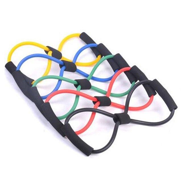 Home Sport Fitness Yoga 8 Shape Pull Rope Tube Equipment Fitness Belt Tool Gym Exercise send in random 3