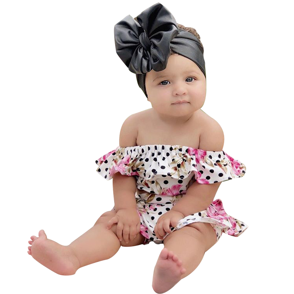Summer Baby Clothes 2 Piece Set Girl Ruffles Dot Floral Printed Off Shoulder Crop Top Shorts Casual Outfit Baby Girl Clothes D20