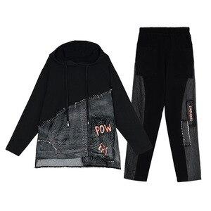Image 5 - Max lulu outono marca de moda coreana senhoras duas peças conjunto roupas de fitness das mulheres denim topos harem calças suor do vintage treino