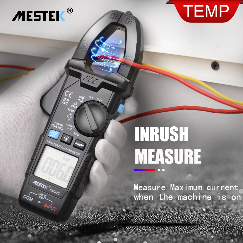 MESTEK Digital Clamp Meter 600A AC Current  AC/DC Voltage Ohm True RMS Auto Range VFD Capacitance NCV Tester Ammeter Multimeter