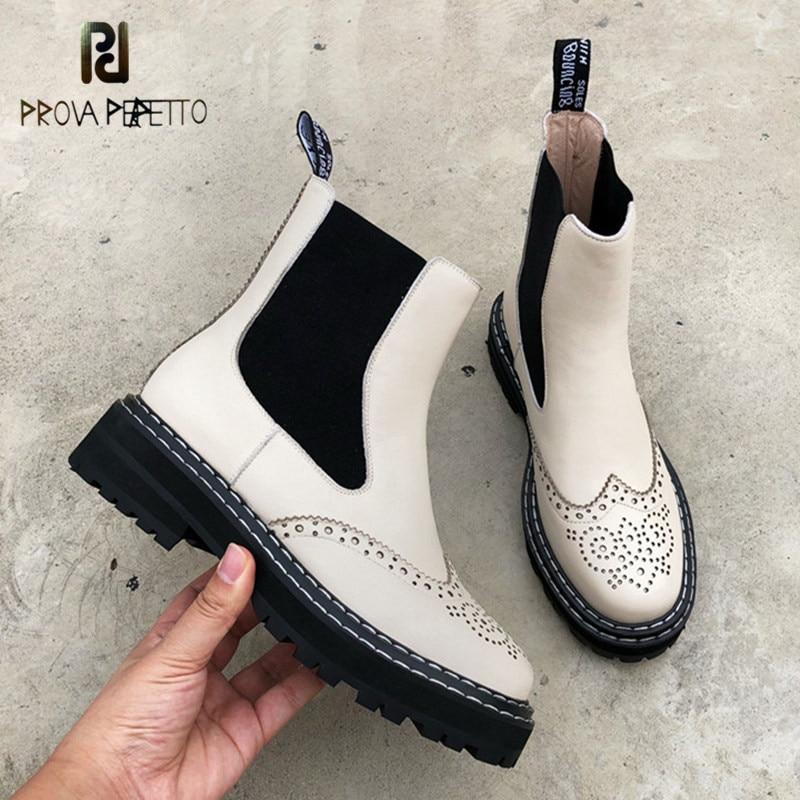 Femme bottes plat hiver Chelsea bottes femmes en cuir véritable élastique cheville chaussures Fretwork dames court Martin bottes de qualité supérieure