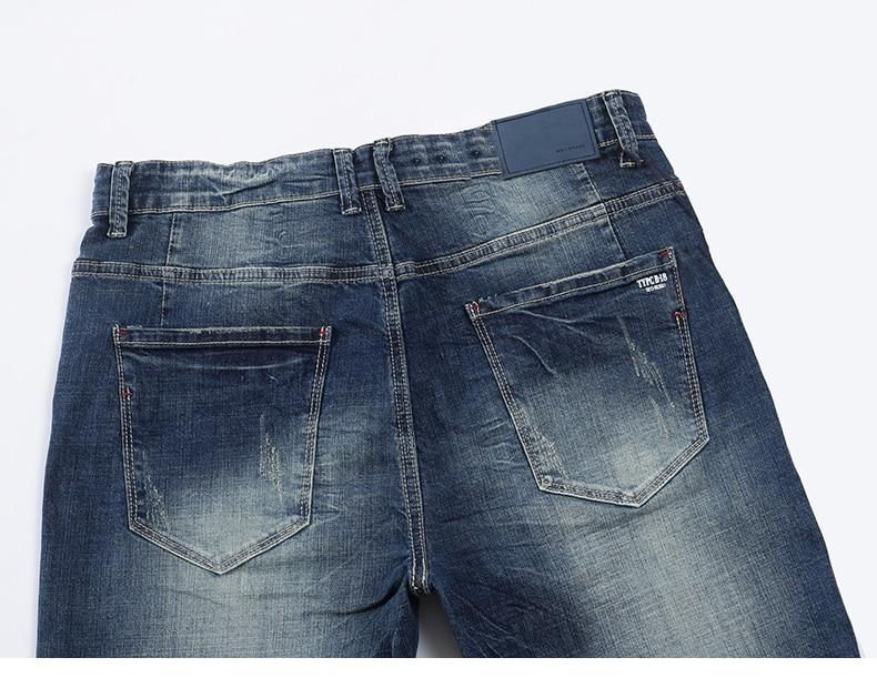 KSTUN Men's Jeans Classic Direct Stretch Dark Blue Business Casual Denim Pants Slim Straight Long