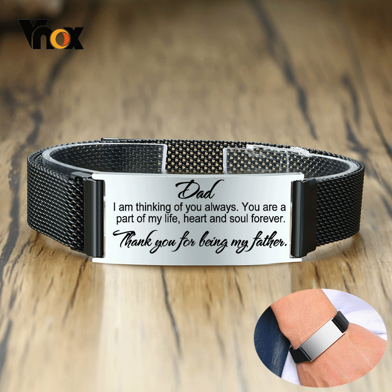 Vnox Men Stylish Mesh Chain Bracelets Personalize Engrave Stainless Steel ID Love Dad Custom Gifts for Him Length Adjustable