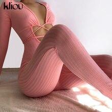 Kliou – combinaison rayée à manches longues pour femmes, Sexy, Bandage ajouré, Slim, Style de rue, vêtements une pièce, 2021