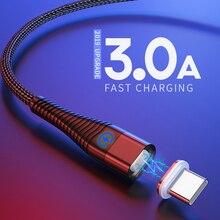 Câble Usb Type C 1m 2m câble magnétique Led charge rapide pour Samsung Galaxy S9 S8 Plus Note 9 8 OnePlus 7 Pro câble chargeur