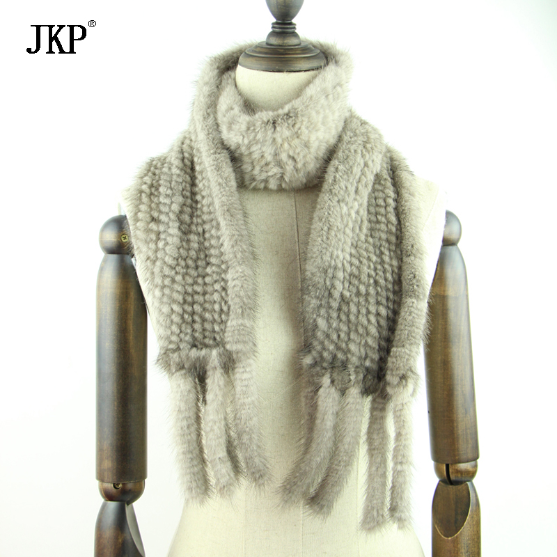 JKP 2019 Winter Real Mink Scarf Women Tassels Natural Mink Warm Scarves New Fashion Knitted Collar Luxury Shawl and Wraps