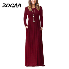 Women Autumn Black Dress Femme Long Dresses Plus Size Boho Pocket  Maxi Solid Sleeve O-neck GV812