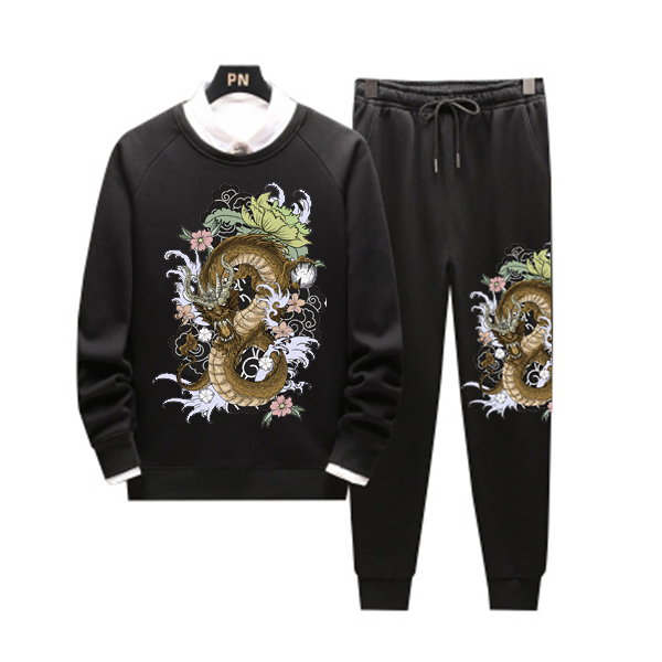 Men Casual Hoodies Floral Gym Walk Jogging Sport Tracksuit Coat Jacket Trousers Pants Suit Spring Fall Outfit 2PC Dragon