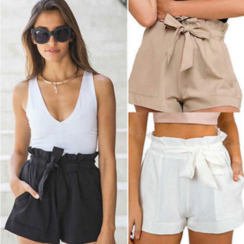 Women Beach Loose Elegant Casual Fashion Short Ladies Shorts Solid Sexy Short Women Summer Hot Ruffle Lacing High Waist Shorts