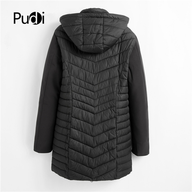 PUDI QY902 Women Cotton Parka Winter Woman Long Casual Jacket Solid Color Hooded Coats And Jackets Spring Autumn Warm Outwear 2