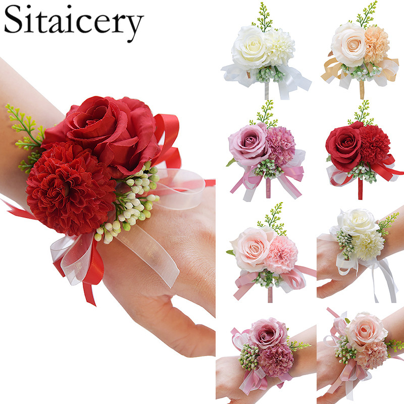 Wedding Wrist Flower Rose Silk Ribbon Bride Corsage Hand Decorative Wristband Bracelet Bridesmaid Curtain Band Clip Bouquet