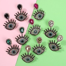 цена на Vintage Evil Eye Earrings for Women Luxury Rhinestone Crystal Earring Colorful Statement Earing Gorgeous Jewelry 2019