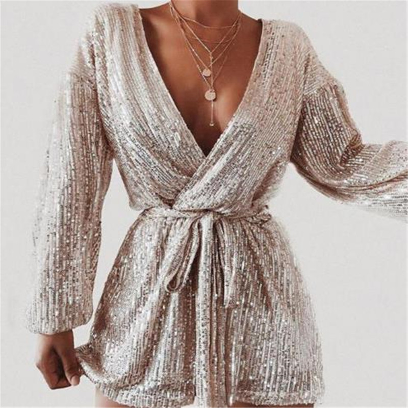 Sexy Women Playsuit Sequins Long Sleeve Bodycon   Jumpsuit   Female Romper Solid Color Lady   Jumpsuits   Womens Clothing Party Playsuit