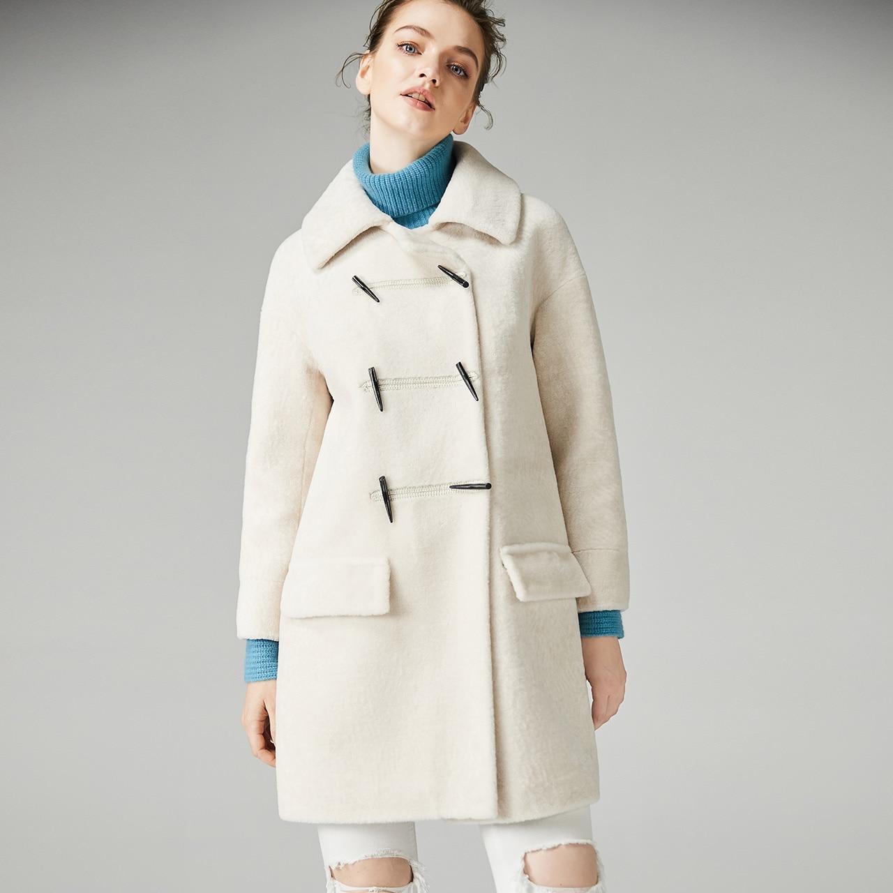 Genuine Fur Coat Women Autumn Winter Warm Thick Sheep Shearing Jackets Top Quality Lamb Fur Parkas V1F32140 MF575