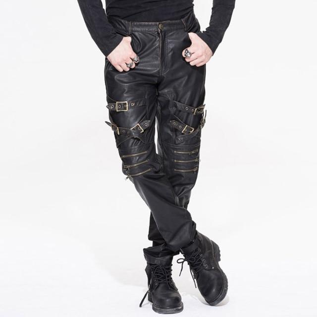 Devil Fashion Men Punk Rock Leather Pants Streetwear Casual Straight Trousers Male Fashion Hight Quality PU Casual Pants 24