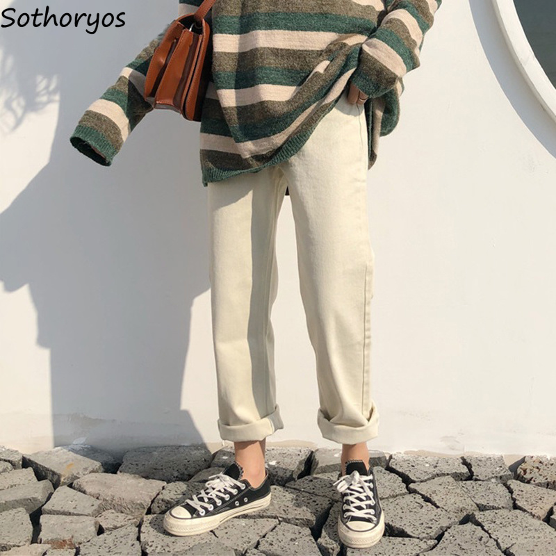 Pants Women 2020 Solid Simple All-match Straight Pockets Leisure Pant Womens High Waist Harajuku Korean Trousers Ulzzang Chic