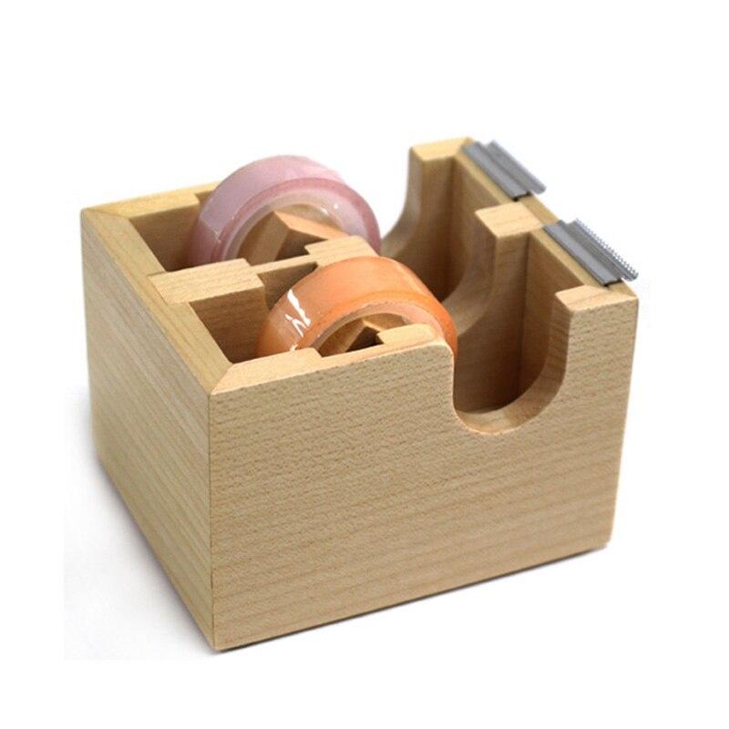 Criativo de madeira dupla fita dispensador adesivo masking fita organizador cortador suporte desktop escritório escola suprimentos
