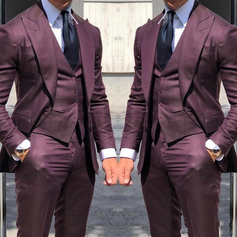 2020 Newest Wedding Tuxedos Fashionable Suits For Men 3Piece Wedding Groom Tuxedos Custom Made  Business Suit(Jacket+Pants+Vest)