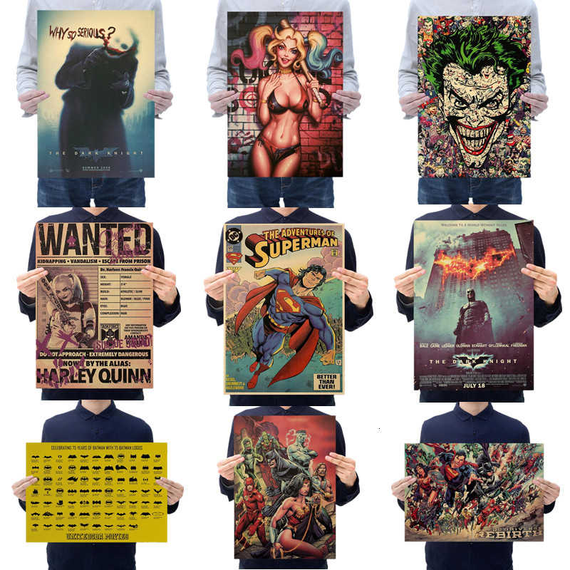 Superman Batman Joker Harley Quinn Painting Comics Movie Poster Vintage Decoracion Wall Art Kraft Paper Posters Wall Stickers