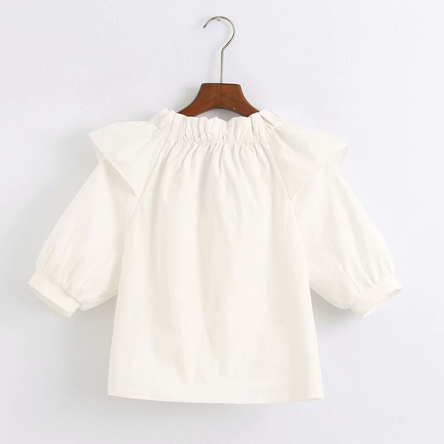 2020 new Spring Summer European Laminated Decoration zaraing women blouse shirt Tops vadiming sheining female blouse shirt C2066