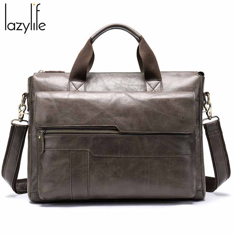 LAZYLIFE Promotion Simple Famous Brand Business Men Briefcase Bag Luxury Genuine Leather Laptop Bag Man Shoulder Bag