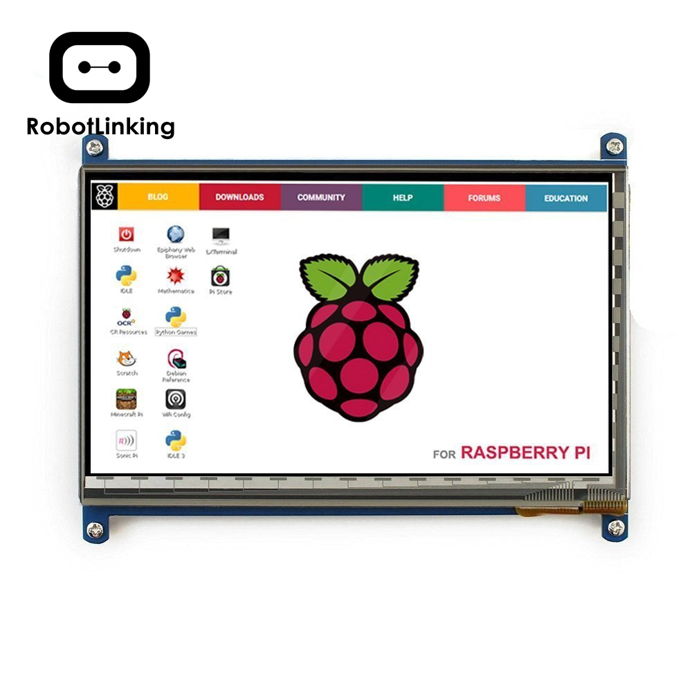 HDMI Display Monitor <font><b>7</b></font> <font><b>Inch</b></font> 1024X600 HD TFT <font><b>LCD</b></font> with Touch Screen for Raspberry Pi B+/2B Raspberry Pi 3 image